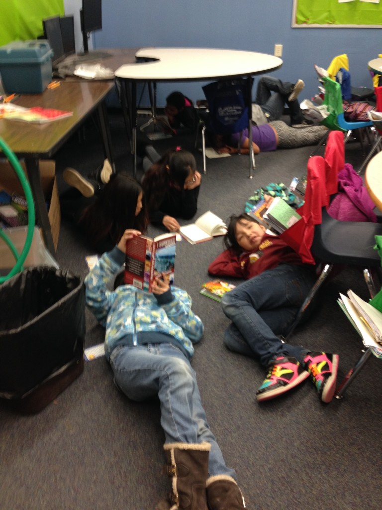 Crazy Horse School students reading